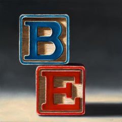 BE / children's blocks - contemporary still life oil painting