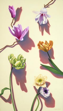 Kiss the Joy / floral oil painting still life pop realism modern beauty