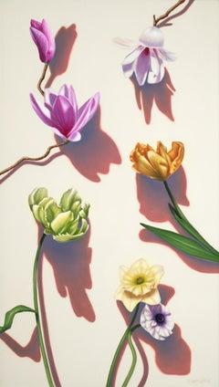 Kiss the Joy / floral oil painting still life pop realism modern beauty