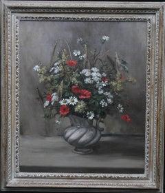 Cornfield Companions - British 1950s art floral poppy oil painting female artist