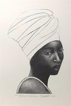 AFRICAN AMERICAN WOMAN(Turban), Hand Drawn Lithograph, Black Female Portrait
