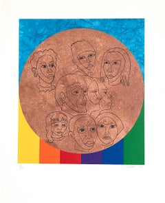 ALL THE PEOPLE Signed Lithograph, For My People-Margaret Walker, Rainbow Faces