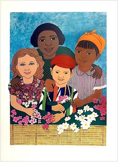 CHILDREN WITH FLOWERS Signed Lithograph, Color Collage Portrait, Print Fabric