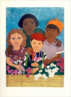 CHILDREN WITH FLOWERS Signed Lithograph, Colorful Collage Multicultural Portrait