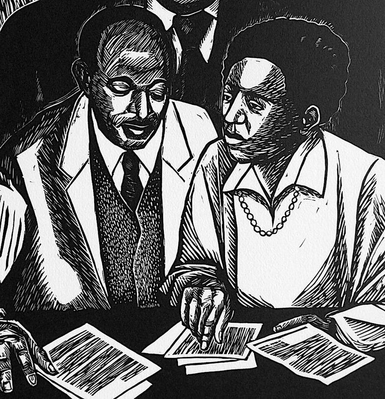 CRUSADERS OR JUSTICE, Signed Linocut Portrait, Thurgood Marshall, Civil Rights - Print by Elizabeth Catlett