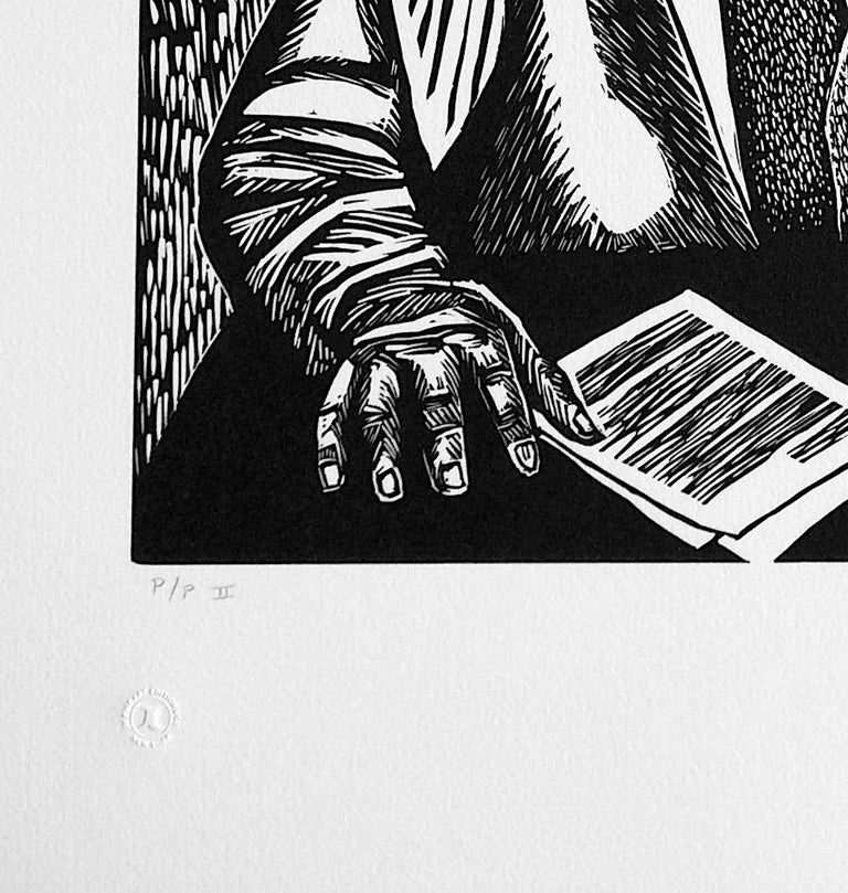 CRUSADERS OR JUSTICE, Signed Linocut Portrait, Thurgood Marshall, Civil Rights - Contemporary Print by Elizabeth Catlett