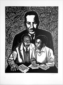 CRUSADERS OR JUSTICE, Signed Linocut Portrait, Thurgood Marshall, Civil Rights