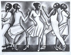 DANCING II, Signed Lithograph, Black and White Dance Portrait, Black Culture