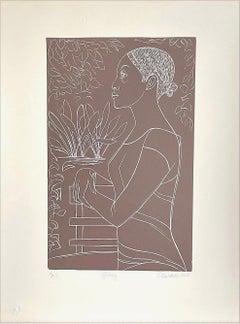 GLORY Hand Cut Linoleum Print, White Line Portrait, Female Profile, Taupe Brown