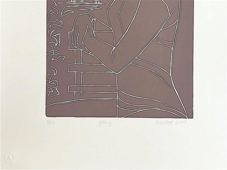 GLORY Hand Cut Linoleum Print, White Line Portrait, Female Profile, Taupe Brown For Sale 3