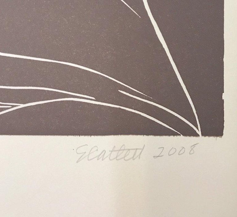 GLORY Hand Cut Linoleum Print, White Line Portrait, Female Profile, Taupe Brown For Sale 4