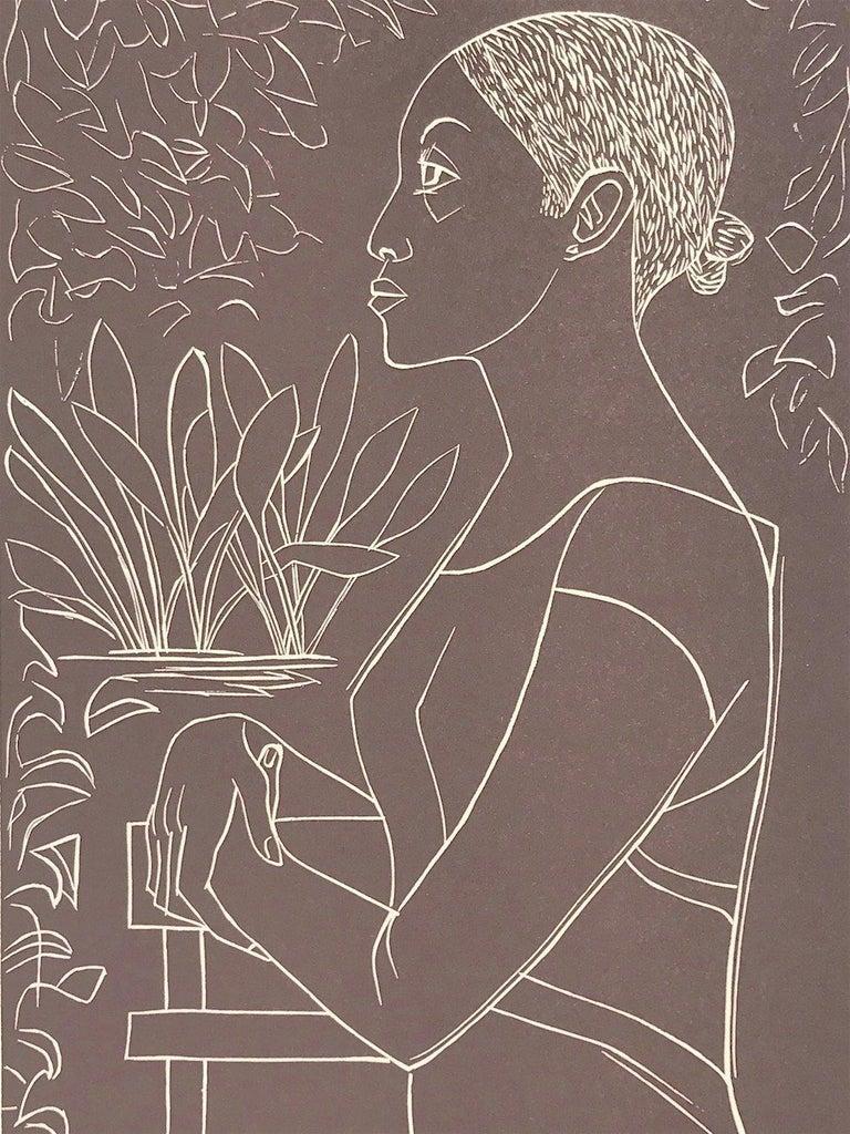 GLORY Hand Cut Linoleum Print, White Line Portrait, Female Profile, Taupe Brown For Sale 2