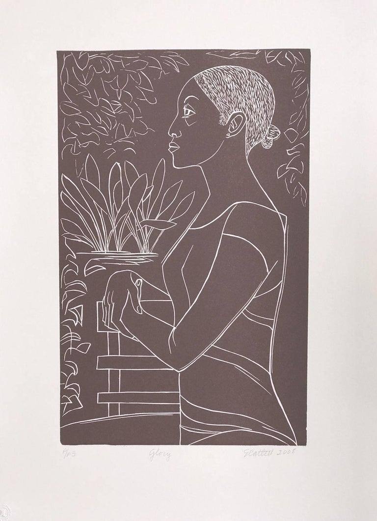 GLORY Hand Cut Linoleum Print, White Line Portrait, Female Profile, Taupe Brown For Sale 1
