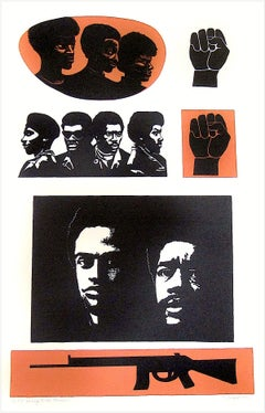 HOMAGE TO THE PANTHERS Signed Lithograph Portrait Black Power Movement, Activism