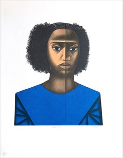 KEISHA M. Hand Drawn Lithograph, Young Black Female Portrait, Afro Hairstyle