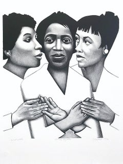 LINKS TOGETHER B+W Signed Lithograph, Black Women, African American Culture