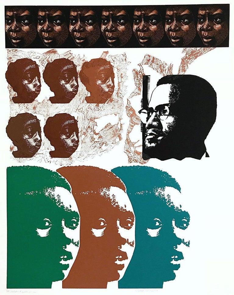 Elizabeth Catlett Print - MALCOLM X SPEAKS FOR US, Signed Linocut, African American Civil Rights Activist