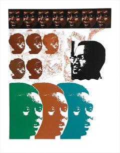 MALCOLM X SPEAKS FOR US Signed Linocut Portrait Head Black Civil Rights Activist