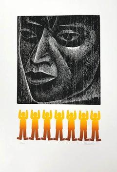 MAN, Signed Woodcut, Indigenous Portrait Head, Mexican Culture