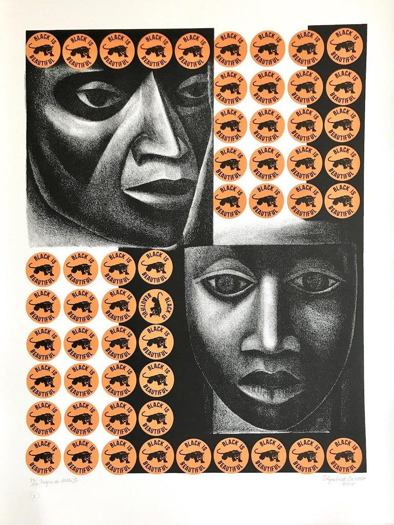 NEGRO ES BELLO II is an original limited edition lithograph created using hand printmaking techniques on archival paper, 100% acid free. Pencil signed, titled, dated by Ms. Catlett on the lower margin, embossed with printers chop mark lower left,