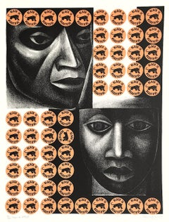 NEGRO ES BELLO II Signed Lithograph, Black Is Beautiful, Black Panther Logo