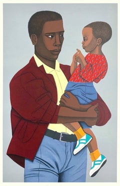 NEW GENERATION Signed Lithograph, Collage Portrait, Black Father and Son, Denim