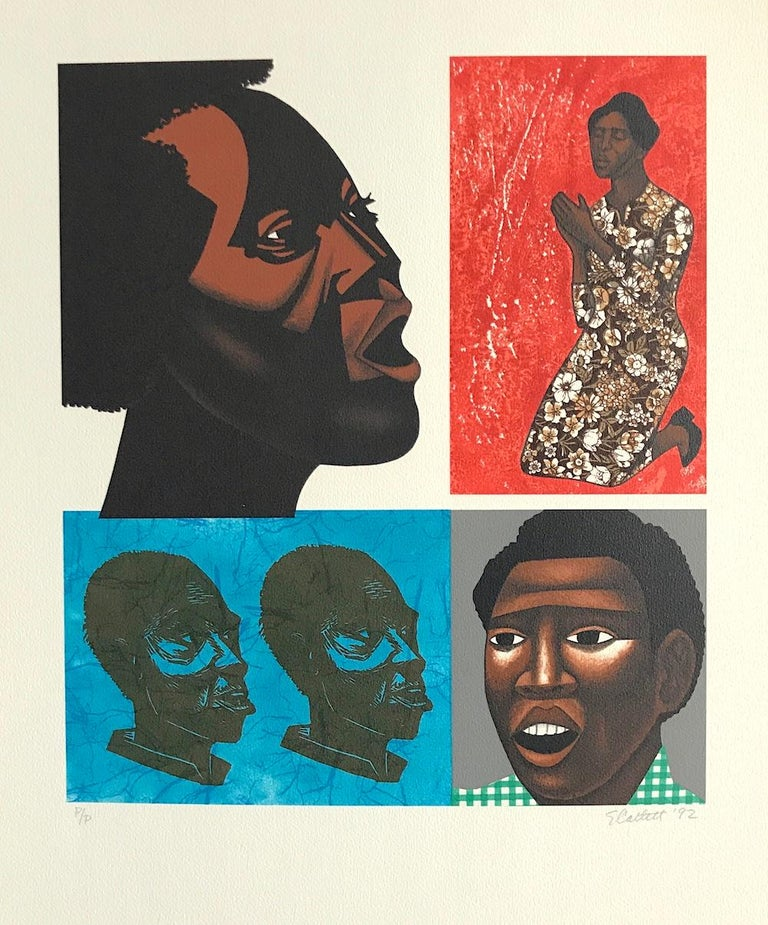 SINGING THEIR SONGS Signed Lithograph, For My People by Margaret Walker - Print by Elizabeth Catlett