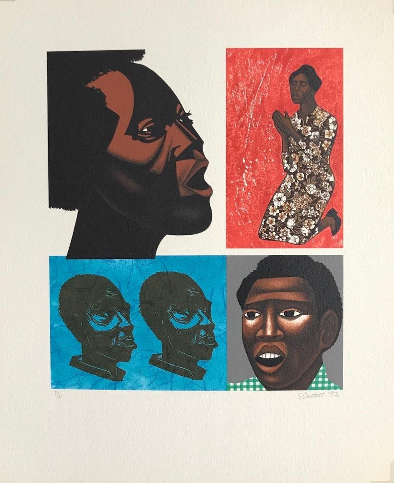 SINGING THEIR SONGS Signed Lithograph, For My People by Margaret Walker - Contemporary Print by Elizabeth Catlett