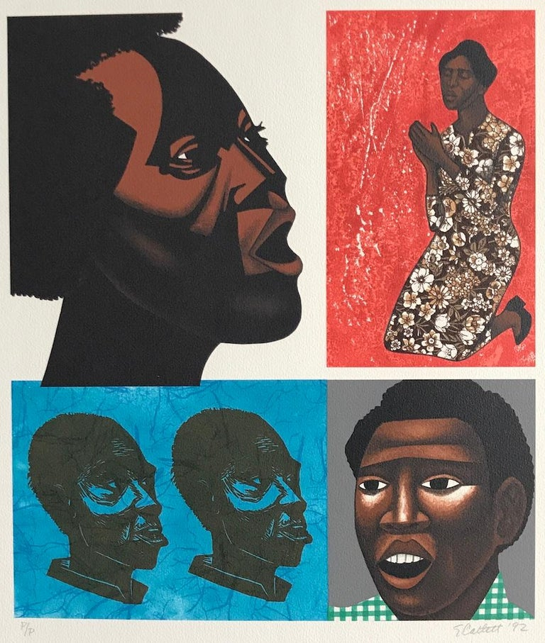 SINGING THEIR SONGS is an original hand drawn limited edition lithograph by the highly acclaimed African-American woman artist Elizabeth Catlett, master printmaker and sculptor best known for her depictions of the African-American experience.