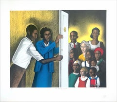 THE DOOR OF JUSTICE Signed Color Lithograph, Lawyer and Clients, Civil Rights