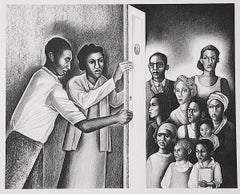 THE DOOR OF JUSTICE Signed Lithograph, B+W Portrait, Social Justice Civil Rights