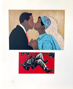 TO MARRY Signed Lithograph, For My People by Margaret Walker, Bride and Groom
