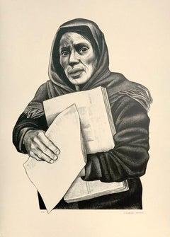 VENDEDORA DE PERIODICAS Signed Lithograph, Mexican Woman Newspaper Vendor
