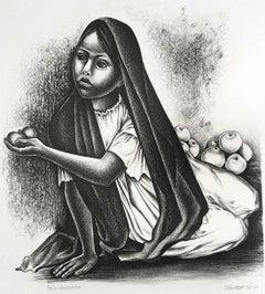 VENDEDORA Signed Lithograph, Mexican Village Girl Portrait, Street Fruit Vendor
