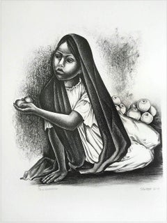 VENDEDORA Signed Lithograph, Portrait Seated Young Girl, Mexican Fruit Seller