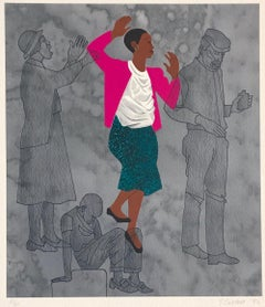 WALKING BLINDLY Signed Lithograph, Black Woman, For My People by Margaret Walker