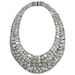 Elizabeth Cole Swarovski Crystal Hematite Plated Bib Necklace rt. $1,125