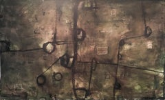 Hold On (Contemporary Abstract Oil Painting on Canvas in Brown & Dark Green)