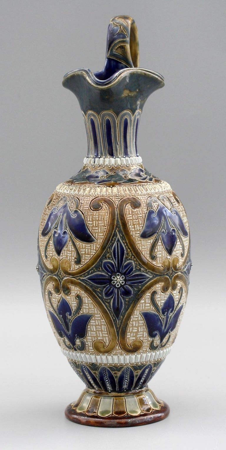 Elizabeth Fisher for Doulton Lambeth Art Pottery Jug Dated 1880 For Sale 2