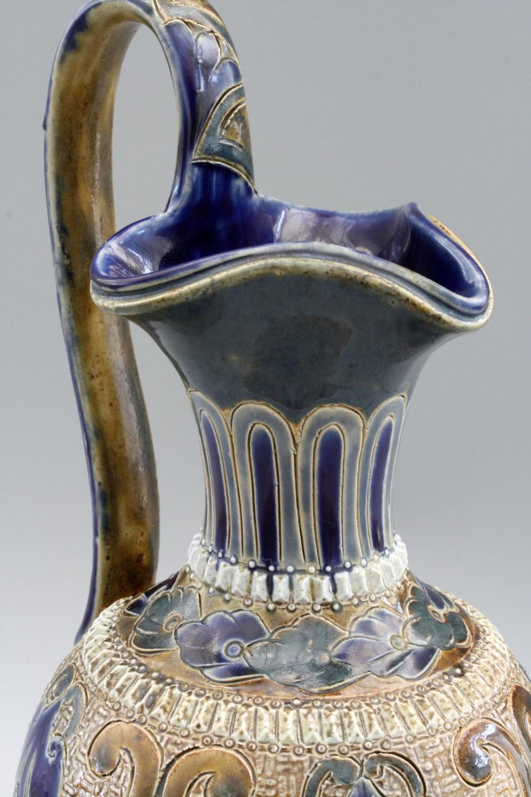 Elizabeth Fisher for Doulton Lambeth Art Pottery Jug Dated 1880 For Sale 4