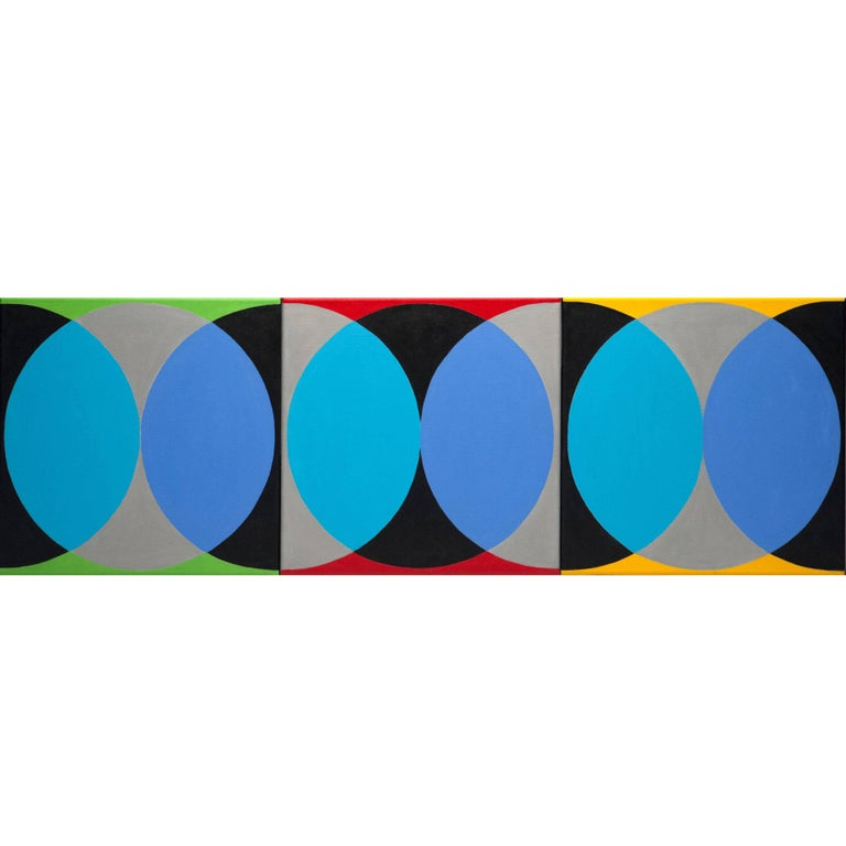 Elizabeth Freire Geometrical Triptych Circle Abstract Modern Painting