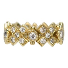 Elizabeth Gage 18 Karat Gold and Diamond Hugs and Kisses Band Ring