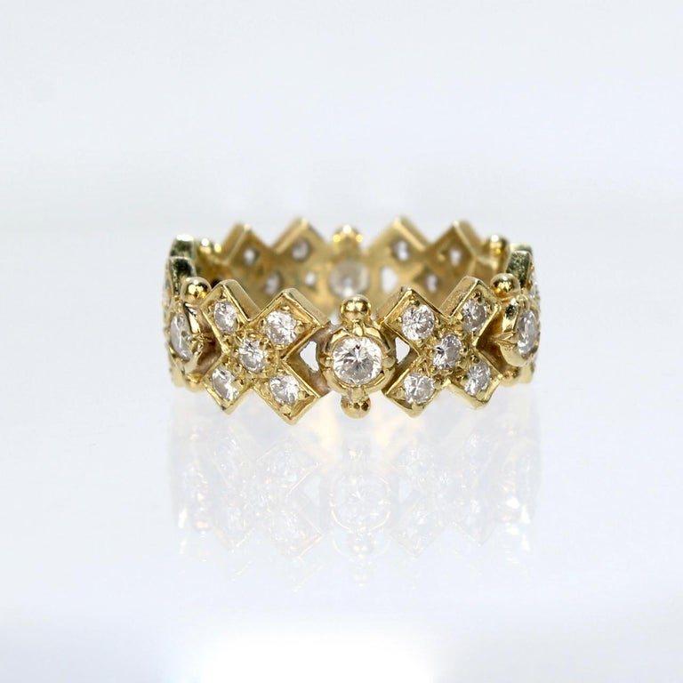 Elizabeth Gage 18 Karat Gold and Diamond Hugs and Kisses Band Ring For Sale 5