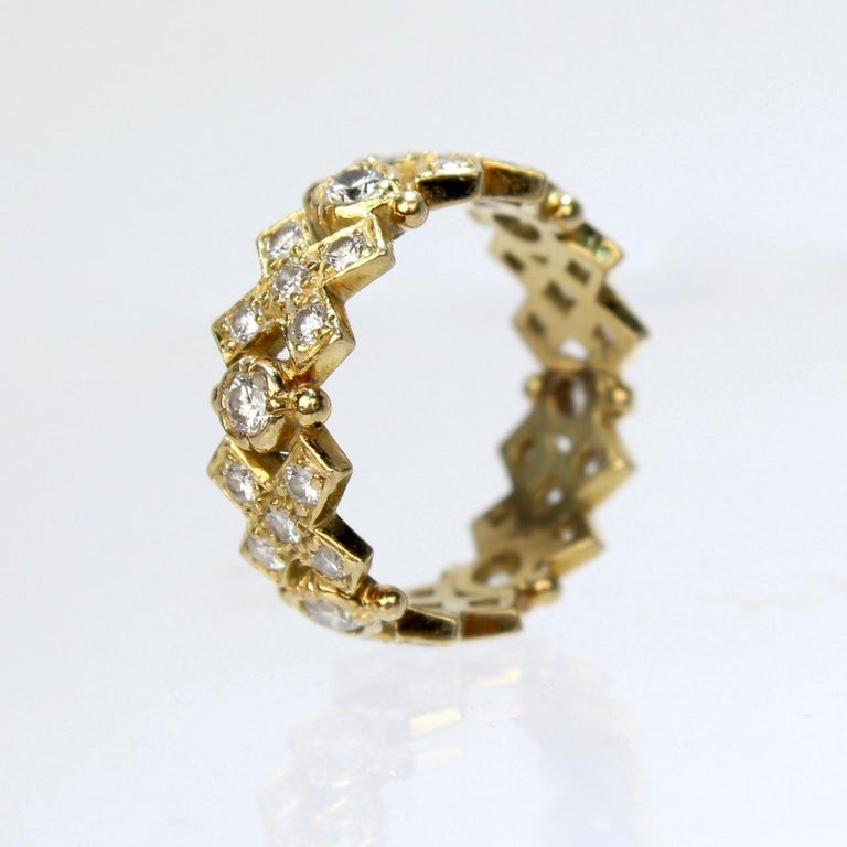Modern Elizabeth Gage 18 Karat Gold and Diamond Hugs and Kisses Band Ring For Sale