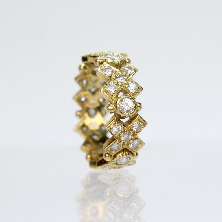 Women's Elizabeth Gage 18 Karat Gold and Diamond Hugs and Kisses Band Ring For Sale