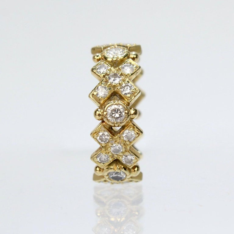 Elizabeth Gage 18 Karat Gold and Diamond Hugs and Kisses Band Ring For Sale 1