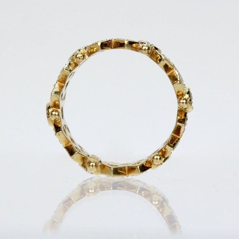 Elizabeth Gage 18 Karat Gold and Diamond Hugs and Kisses Band Ring For Sale 2