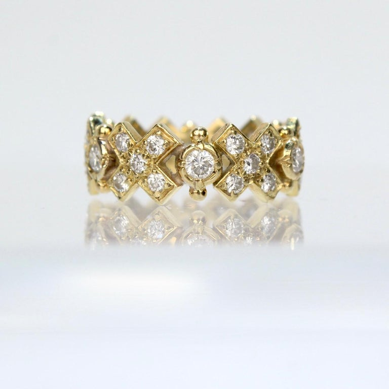 Elizabeth Gage 18 Karat Gold and Diamond Hugs and Kisses Band Ring For Sale 4