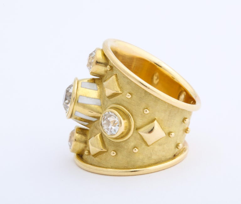 Contemporary Elizabeth Gage 18 Karat Gold Ring with Diamonds For Sale