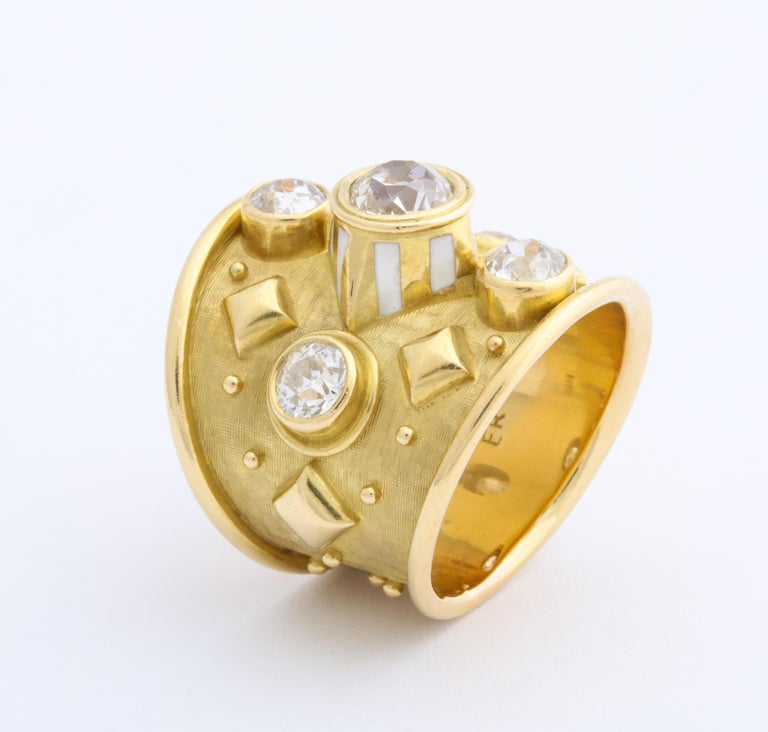 Elizabeth Gage 18 Karat Gold Ring with Diamonds In Good Condition For Sale In New York, NY
